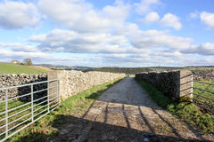 A farm track in Derbyshire. A view of a farm landscape in Derbyshire with gates in the dry stone walls Stock Photography