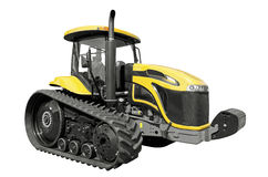 Farm tractor. Yellow farm tractor on a white background royalty free stock photography