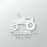 Farm tractor cut paper background illustration vector illustration