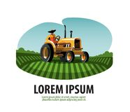 Farm. Tractor and Harvest. Logo, icon, emblem, Stock Images