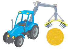 Farm tractor loader. Blue tractor loader with a haystack Royalty Free Illustration
