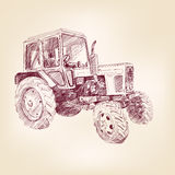 Farm tractor sketch vector illustration Stock Photo