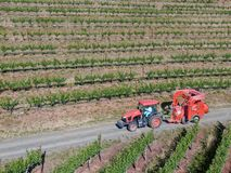 Farm tractor spraying pesticides & insecticides herbicides over green vineyard field. Napa Valley, Napa County, California, USA stock images