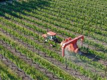 Farm tractor spraying pesticides & insecticides herbicides over green vineyard field. Napa Valley, Napa County, California, USA royalty free stock image