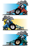 Farm tractors plowing. A cartoon illustration of three modern farm tractors in red blue and green plowing a field against a simple gradient background royalty free illustration