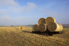 Farm trailer with bales Stock Photo
