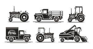 Farm transport, set icons. Agricultural tractor, truck, lorry, harvester, combine, pickup, car symbol. Silhouette vector. Farm transport, set icons. Agricultural Stock Images