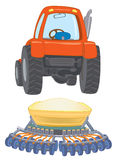 Farm travctor with planter. Orange farm travctor with planter Royalty Free Illustration