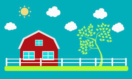 Farm. And tree on a background of sky and clouds Stock Photo