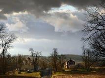 Farm, trees, clouds Stock Photos