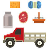 Farm truck organic food design vintage agriculture vehicle rural transport vector illustration. Royalty Free Stock Photo