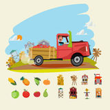 Farm truck run across farm scene with set of Agricultural. fruit Stock Photography