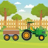 Farm truck tractor and trailer. Icon cartoon rural landscape vector illustration graphic design stock illustration