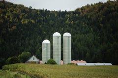 Farm tucked against hillside Royalty Free Stock Photo