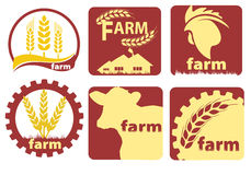 Farm Two-color Icon Set Vector. Farm Icon Set Vector in red color stock illustration