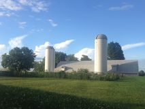 Farm with two silos. stock photography