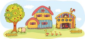 Farm with a two-story house. Barn, trees and animals Royalty Free Stock Photo