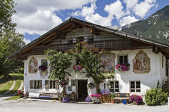 Farm in Tyrol. Traditional farm with painting in Leutasch in Tyrol stock photography
