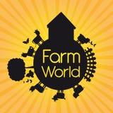 Farm vector. Black silhouette farm world over yellow background. vector illustration Stock Image