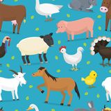 Farm vector animals domestic characters cow, chicken, pig, stock illustration