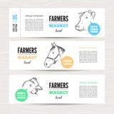 Farm vector banners Royalty Free Stock Photos