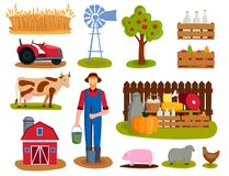 Farm vector illustration nature food harvesting grain agriculture growth cultivated design. Farm icon vector illustration. Nature food harvesting grain Stock Photography