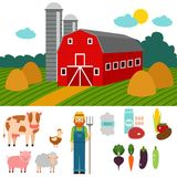 Farm vector illustration nature food harvesting. Farm icon vector illustration. Nature food harvesting grain agriculture. Different animals characters. Modern Stock Photography