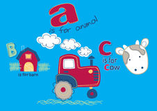 On the farm. Vector illustration of some farm elements with the letters A B C Royalty Free Stock Photo
