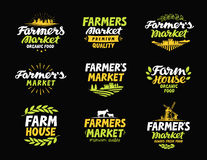 Farm vector logo. Farmers market, farming, agriculture collection icons or symbols. Farm vector logo. Farmers market, farming, agriculture collection icons Royalty Free Stock Images
