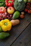 Farm vegetables and fruits on boards Royalty Free Stock Photos