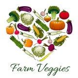 Farm veggies emblem in shape of heart Stock Image