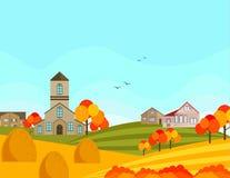 Farm village atumn season with hay background. Vector. Farm village autumn season with hay background. Vector illustration Royalty Free Stock Photos