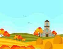 Farm village autumn season with hay background. Vector illustration. S Royalty Free Stock Photos