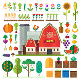 Farm in village. Elements for game. Sprites and tile sets. Vector flat  illustrations Stock Photos