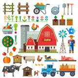 Farm in village. Elements for game. Sprites and tile sets. Vector flat  illustrations Royalty Free Stock Photo