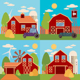 Farm in the village flat Landscape. Natural background, organic products. Royalty Free Stock Image