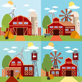Farm in the village flat Landscape. Natural background, organic products. Stock Photography