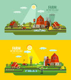 Farm in the village. Set of elements - barn Royalty Free Stock Image