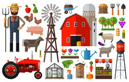 Farm in village vector logo design template Stock Photo