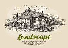 Farm, vineyard sketch. Vintage rural landscape, farming, agriculture vector illustration Royalty Free Stock Photo