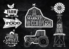 Farm vintage chalk. Farm characters in vintage style lettering in tractor barn and the mill and the sign field stylized drawing with chalk on blackboard Royalty Free Stock Images