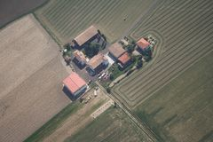 A farm in Voghera. Aerial view of farm located near Voghera Royalty Free Stock Photos