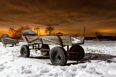 Farm wagon in evening Royalty Free Stock Images
