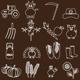 Farm white and brown simple outline icons set Stock Images
