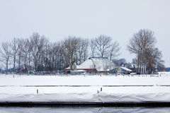 Farm in a white winter landscape Stock Photography