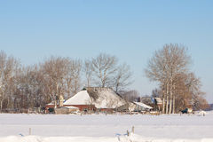 Farm in a white winter landscape Royalty Free Stock Photo