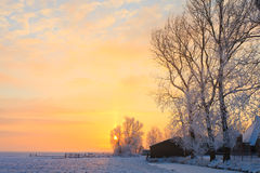 Farm in a white winter landscape Stock Images