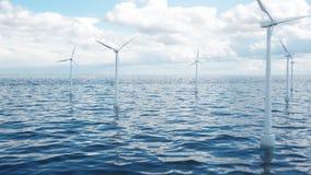 Farm wiatrowych turbiny łapać w światła słonecznego niebie Piękny kontrast z błękitnym morzem ekologiczny pojęcie, 3d ilustracja zdjęcia royalty free