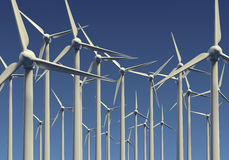 Farm of wind generators at sea Stock Photos