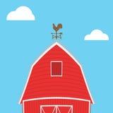 Farm windmill, barn, fence, house Stock Photo